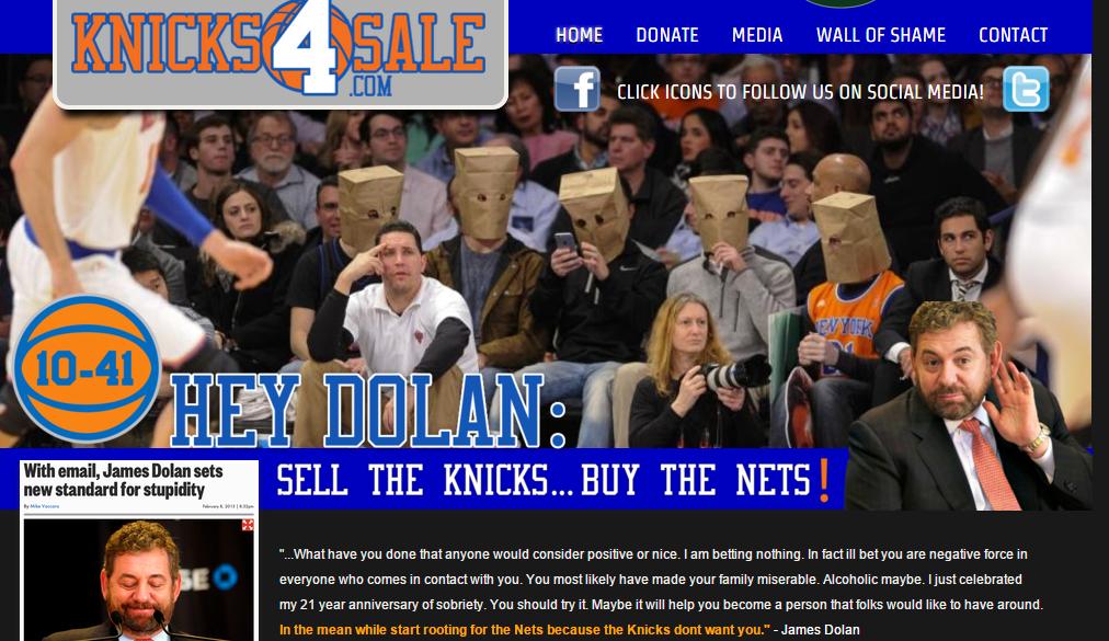 Un site anti-James Dolan voit le jour