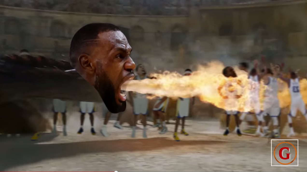 Parodie : Le dragon LeBron James crame salement les Warriors
