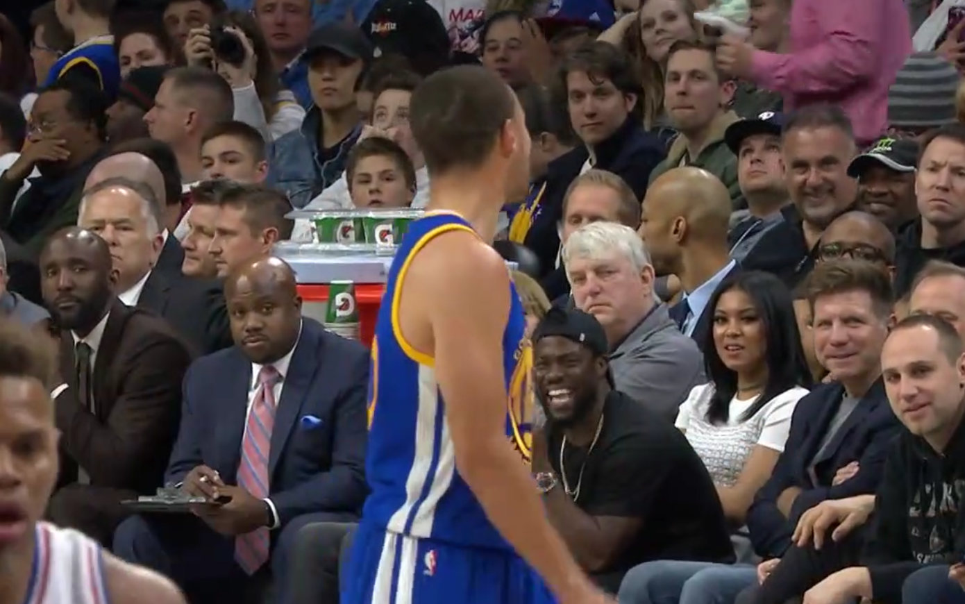 Stephen Curry et Kevin Hart se charrient en plein match