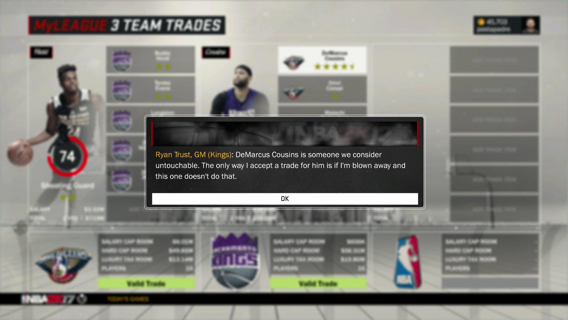 Même dans NBA 2K17 le trade de DeMarcus Cousins est irréaliste