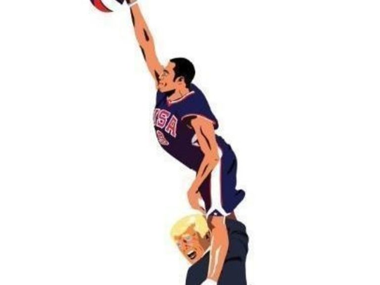 Fred Weiss style : Un t-shirt avec Vince Carter en train de dunker sur Donald Trump