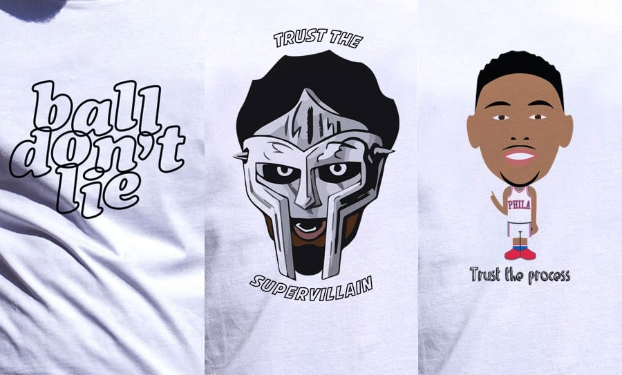 3 T-shirts en l'honneur de Embiid, Simmons et de leur première série de playoffs victorieuse
