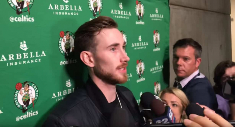 Gordon Hayward n'était pas dans le cinq des Celtics hier