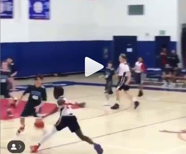 LeBron James Jr cale un Shammgod en plein match