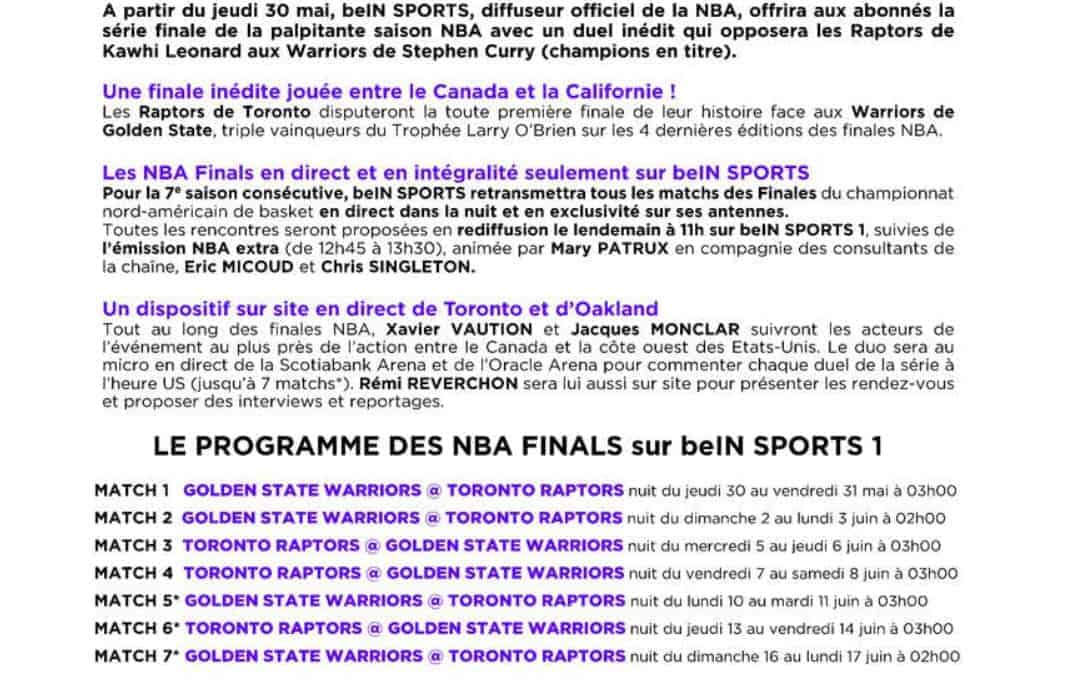 beIN NBA Finales Raptors Warriors