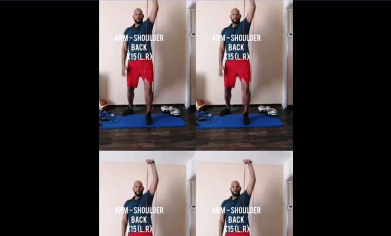 L'exercice du jour : travail du haut du corps avec élastiques