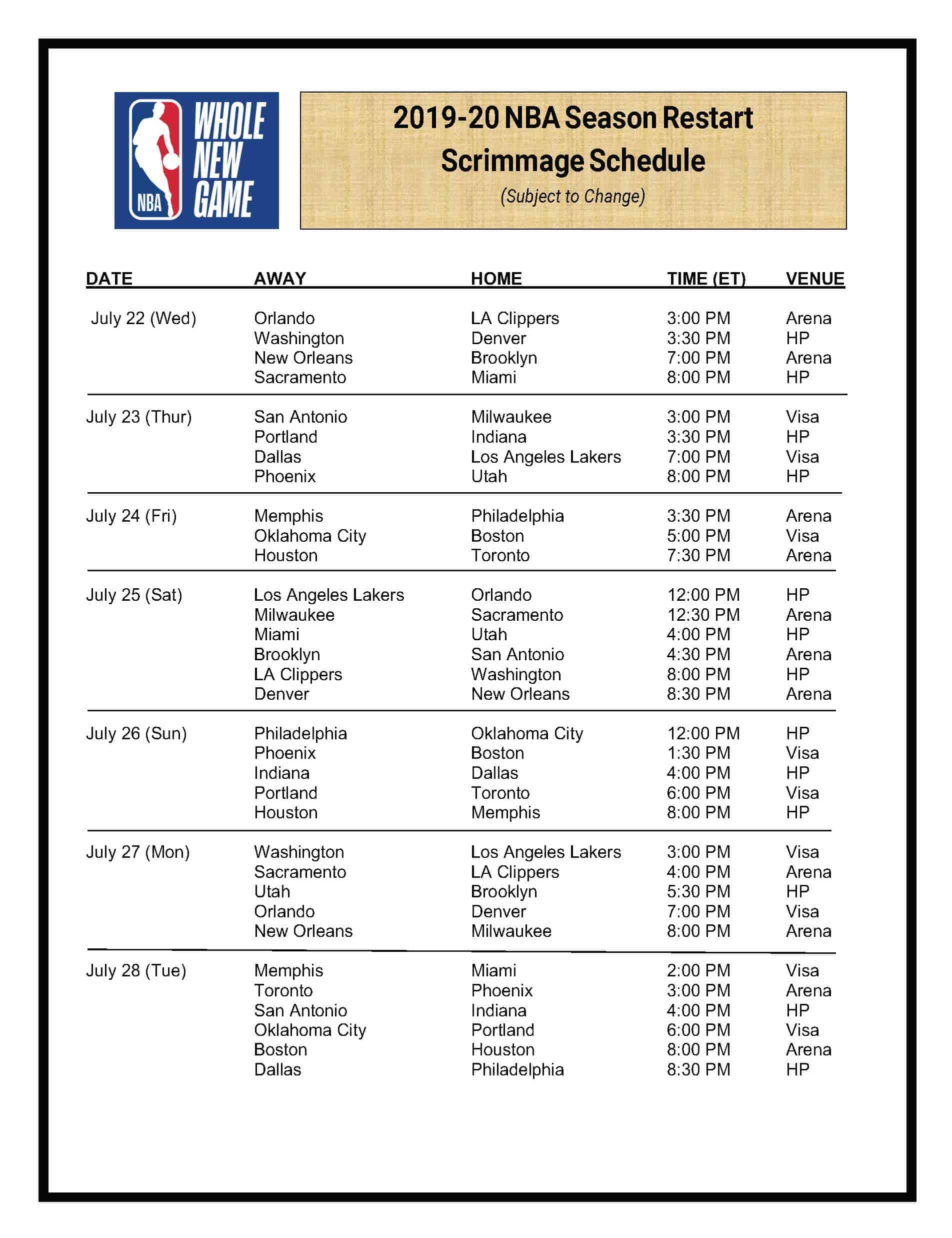 Calendrier NBA