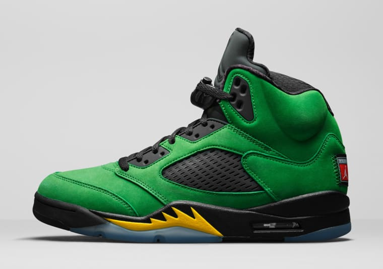 La Air Jordan 5 se met aux couleurs de l'université d'Oregon