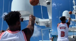 Même au milieu de l'océan, Jimmy Butler continue de jouer au basket