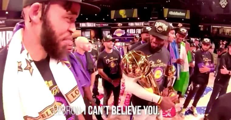 Pourquoi LeBron a bien fait marrer les Lakers lors de la remise du trophée