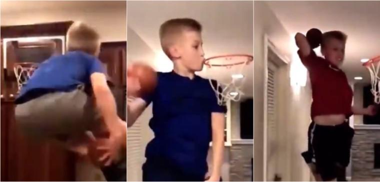 Ce gamin fait des trucs fous et est un dieu du dunk… sur mini-panier !